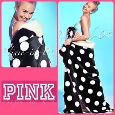 "Victoria's Secret PINK Soft Sherpa Blanket Black Polka Dot 60"""" x 72"""" & BONUS VS"