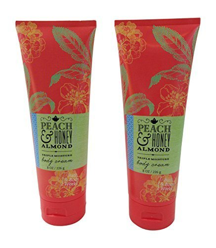 Bath & Body Works Peach & Honey Almond Body Cream 8 Oz (2 Pack)