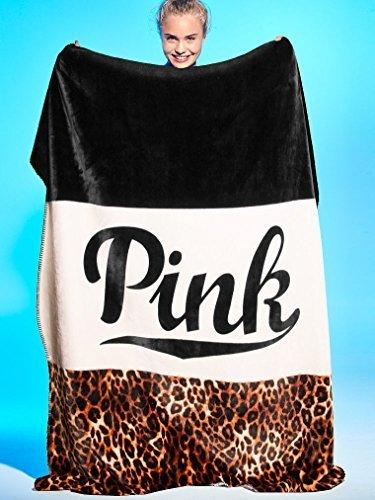 Victoria's Secret PINK Plush Sherpa Blanket in Leopard Logo Colorblock