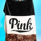 Victoria's Secret PINK Plush Sherpa Blanket in Leopard Logo Colorblock