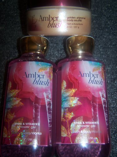 3 Piece Bath & Body Works Amber Blush Fragrance Set- Shower Gel and Golden Shimm