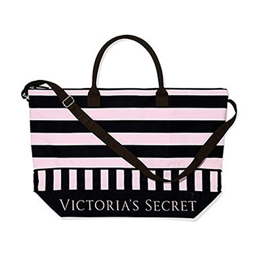 Victoria's Secret Expandable Pink Black Weekender Duffle Travel Bag Carry-on