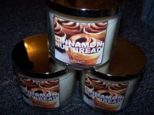 Lot of 3 Cinnamon Nut Bread Large 3 Wick Slatkin Candles by Bath and Body Works