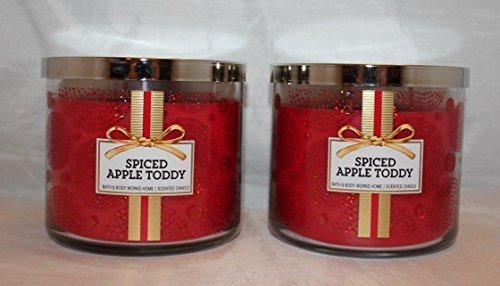 Lot of 2 Bath & Body Works Spiced Apple Toddy 3 Wick Scented Candle 14.5 Oz Each