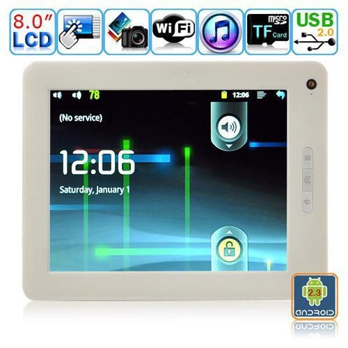 Android 2.3.1 Tablet PC-8 Inches TFT Dual-touch Resistive LCD M8004(White)