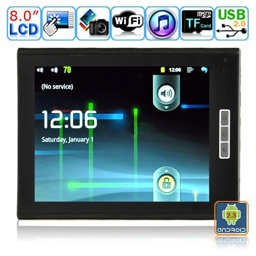 Android 2.3.1 Tablet PC-8 Inches TFT Dual-touch Resistive LCD-M8004(Steel Black)