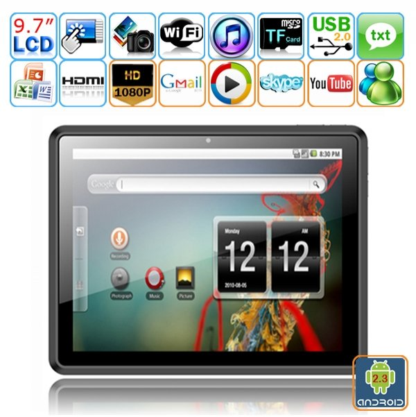 Android 2.3 Rockchip 2918 A8 1.2GHz CPU 8GB HDD 9.7-inch Capacitive 5-point Touch Tablet PC