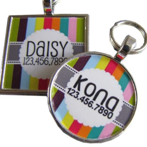 Retro Carnival Stripes Graphic Pet ID Tag