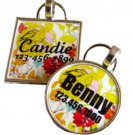 Yellow Bird Floral.Custom Pet ID Tag