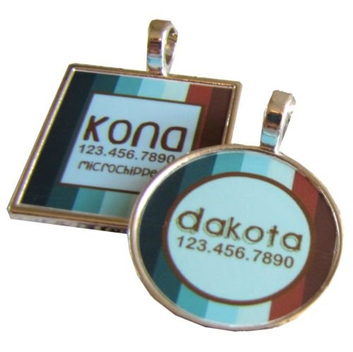 Retro Blue and Brown Stripes Pet ID Tag