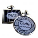 Wedding Party Lace and Pinstripes Pet ID Tags