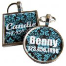 Blue and Navy Damask  Pet ID Tag