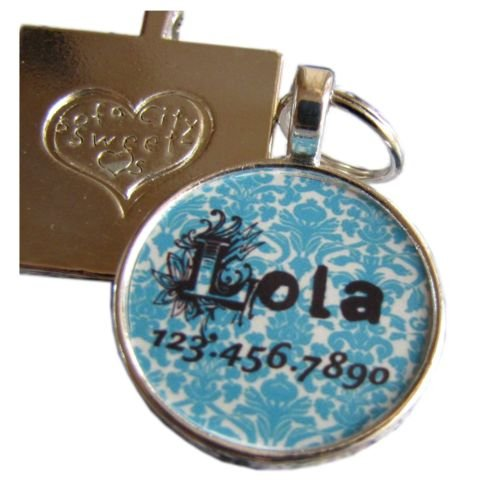 Turquoise Blue Damask  Pet ID Tag