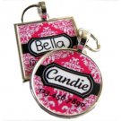 Pink Damask Pet ID Tag
