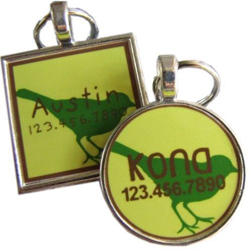 Green Bird Pet ID Tag