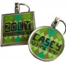 Green Argyle Pet ID Tag