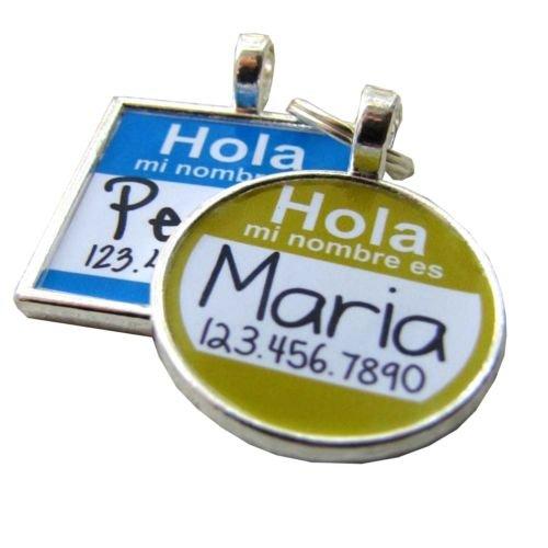 Hola Spanish Hello Name Tag- Custom Graphic Pet ID Tag