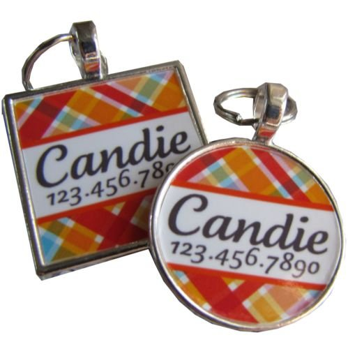 Pink Candy Plaid Pet ID Tag