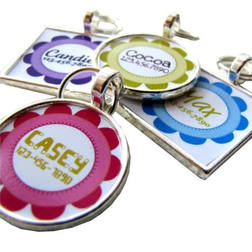 Craft Flower Custom Pet ID Tag