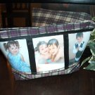 Purple Plaid Cosmetic Bag with 3 Picture Slots