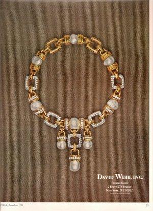 David Webb Jewels Vintage Color Print Ad 1972 Vogue Magazine