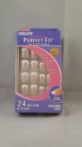 Nailene Perfect Fit for Flat Nails Artificial False Acrylic Finger Nails French Manicure