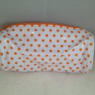 Ipsy MyGlam Glam Bag Beauty Schooled August 2014 White Orange Polka Dots spotted Cosmetic clutch
