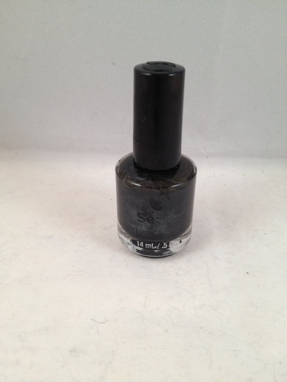 Seche Nail Lacquer Smokey color polish *damaged* deep charcoal shimmer