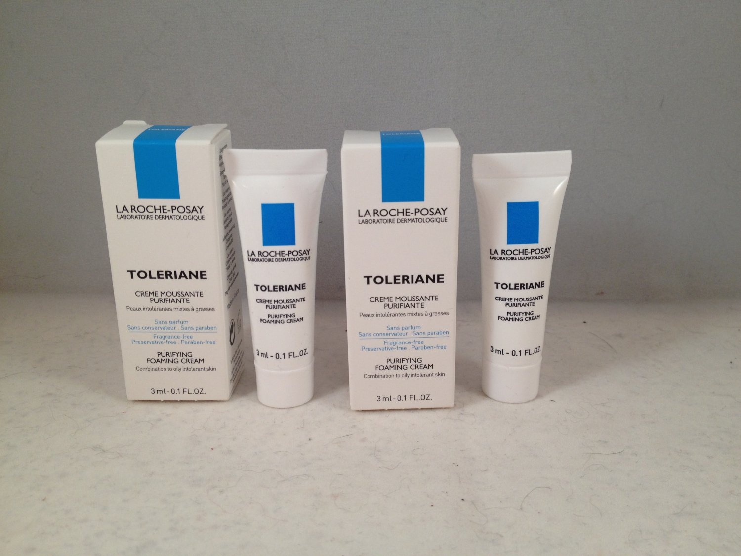 Lot of 2 La Roche-Posay Toleriane Purifying Foaming Cream Cleanser Trial Size