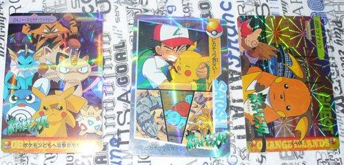 Pokemon Stickers Ash Pikachu Meowth Raichu LOT 3