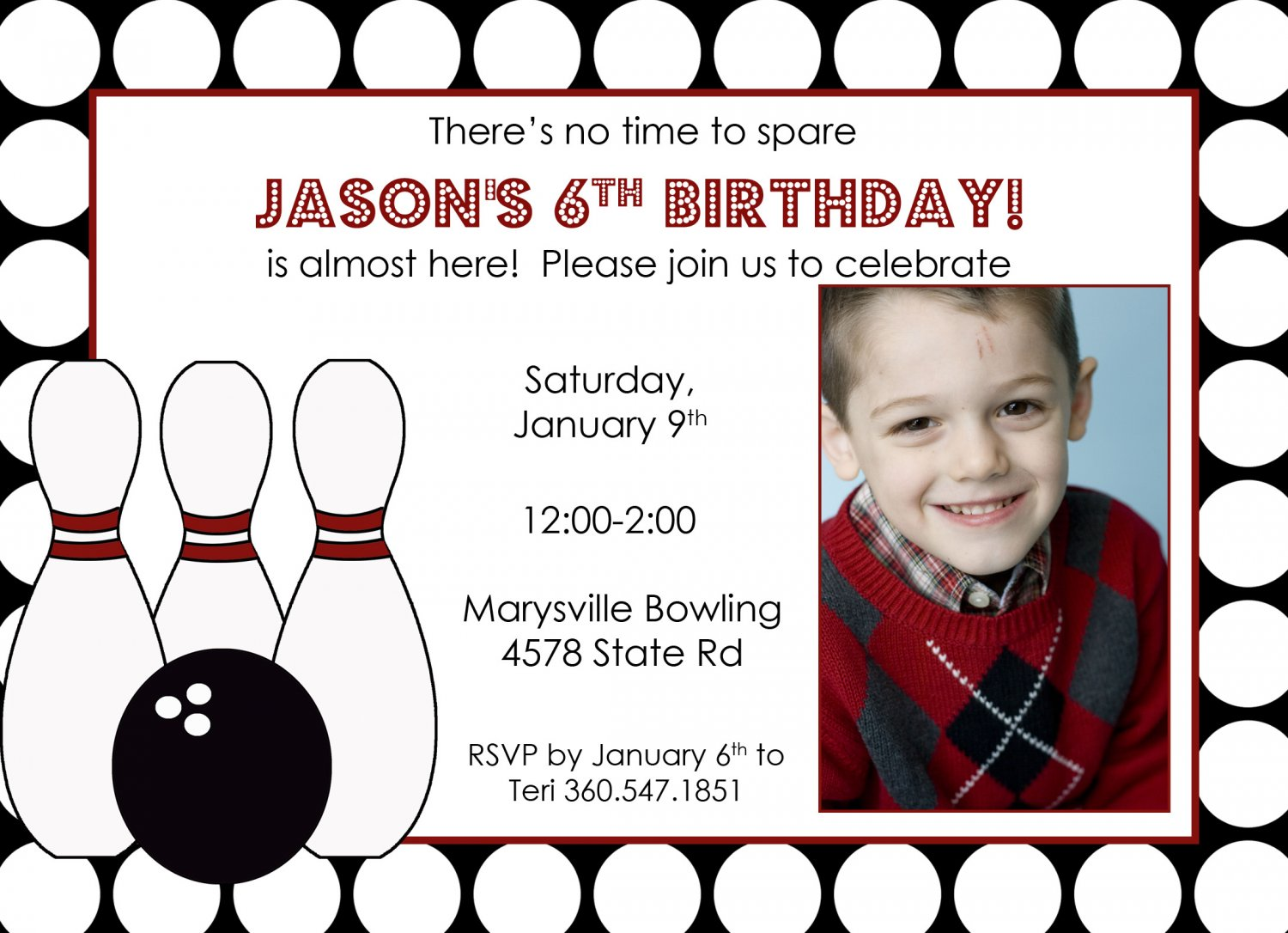boys bowling invitation with photo- print your own, personalized