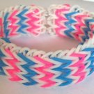 Triple Fishtail Rubber Band Bracelet - Pink & Blue