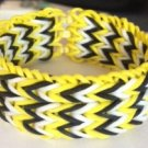 Triple Fishtail Rubber Band Bracelet - Yellow, Black & White