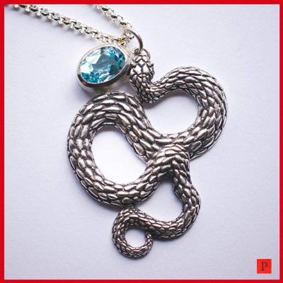 "Solid Silver Snake Python pendant Necklace With 18"" Silver Chain"