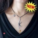 Sterling Silver Bird Talon Claw Necklace with Golden Citrine Briolettes