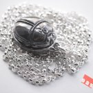 """ new"" Silver Scarab Amulet W/ Heart Spell in Book of the Dead"