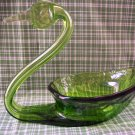 Vintage Green Glass Swan
