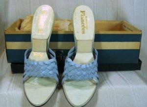 Strappy Light Blue Leather Vintage  Springolators by Fiancees:  Sz 6-1/2M, NIB, High Slender Heel