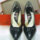 Black Leather Pumps by Life Stride, NOS, 6-1/2M, Buckled Toe Detail, High Slender Heel