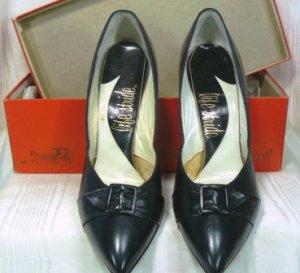 Black Leather Pumps by Life Stride, NOS, 6-1/2M, Buckled Toe Detail, High Slender Heel