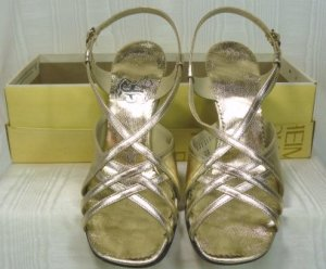 Vintage Fantura Gold Metallic Strappy Evening Shoes: Sz 6-1/2B, Mid-Heel, NOS, Beautiful Shoe!