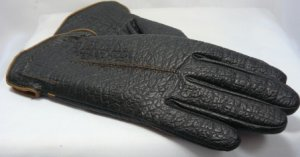 Vint Textured Aris Warm Winter Gloves Black/Brown:  Snuggly Lining, Sz. 6-1/2-7, Perfect Condition