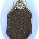 Vintage Beaded Purse in Bronze Iridescent Beads, Elegant Filigree Brass Frame