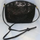 Vintage Classic Black Metal Mesh Strap Evening Purse:  Mataching Lining & Strap