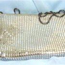 Vintage Silvertone Metal Mesh Purse: Pacific Express, Zips Both Top & Inside Pocket, Chain Strap
