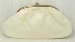 White Pearlized Finish on Vintage Clutch or Chain Handled Special Occasion Purse
