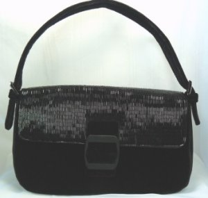 Elegant Black Velvet Evening Purse by Pursuits, Ltd. Black Bugle Bead Top w/Buckle Closure