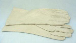 Vintage Bone Colored Kid Gloves, Italian Made, Sz 7-1/2, 4-Button Length