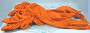 Vintage Orange Shirred Van Raalte Gloves, Sz. 6-1/2-7, Beautiful!