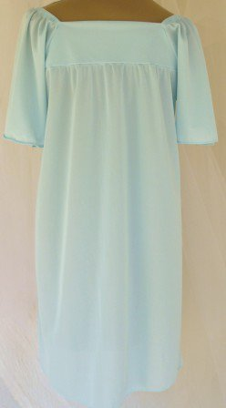 Vintage Light Aqua Knee Length Gown, Pretty Gathered Bodice